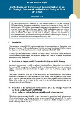 PICUM Position Paper on an EU Strategic Framework on Health and Safety at Work 2014-2020 (November 2014)
