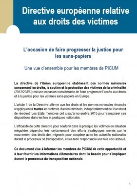Directive européenne relative aux droits des victimes: L'occasion de faire progresser la justice pour les sans-papiers (Septembre 2014) – FR