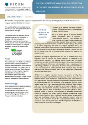 Building Strategies to Improve the Protection of Children in an Irregular Migration Situation in Europe – Country Brief France (May 2012) – EN