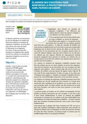 Élaborer des stratégies pour renforcer la protection des enfants sans-papiers en Europe – Dossier pays France (Mai 2012) – FR