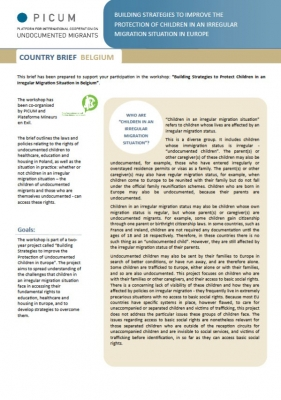 Building Strategies to Improve the Protection of Children in an Irregular Migration Situation in Europe – Country Brief Belgium (March 2012) – EN