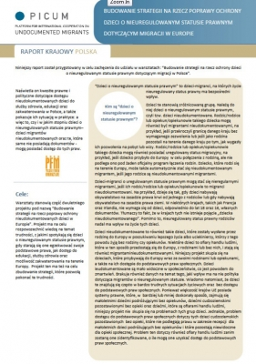 Budowanie strategii na rzecz poprawy ochrony dzieci o nieuregulowanym statusie prawnym dotyczącym migracji w Europie – raport krajowy Polska (December 2011) – PL