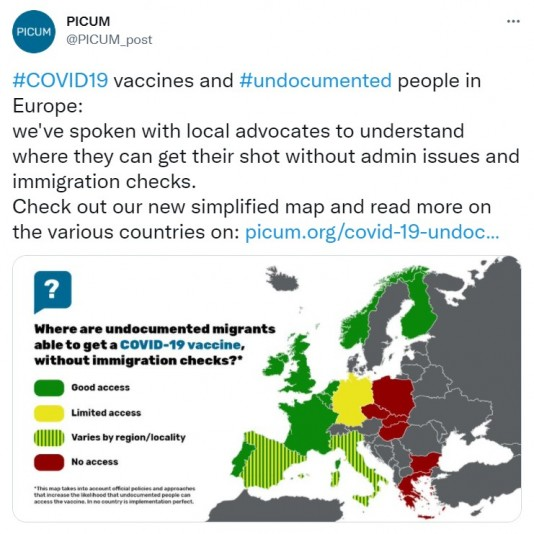 Twitter map of access to Covid19 Vaccine