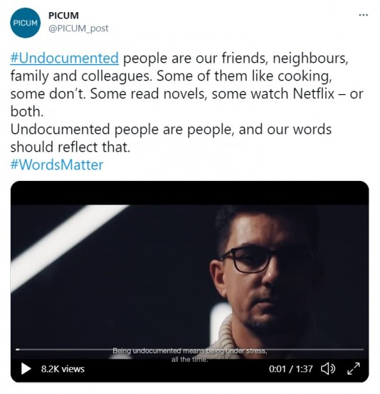 """Check our tweet on """"Living Undocumented in Europe""""."""