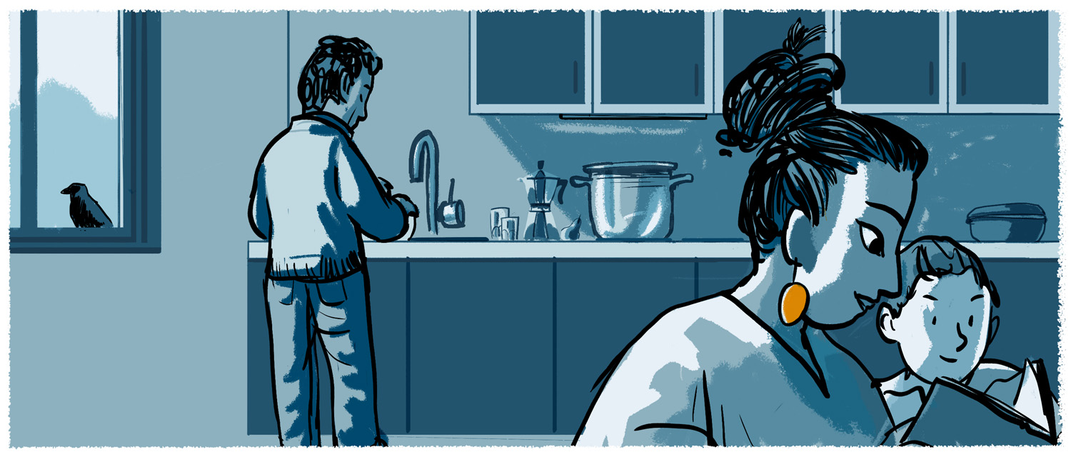Illustration of a family in their kitchen