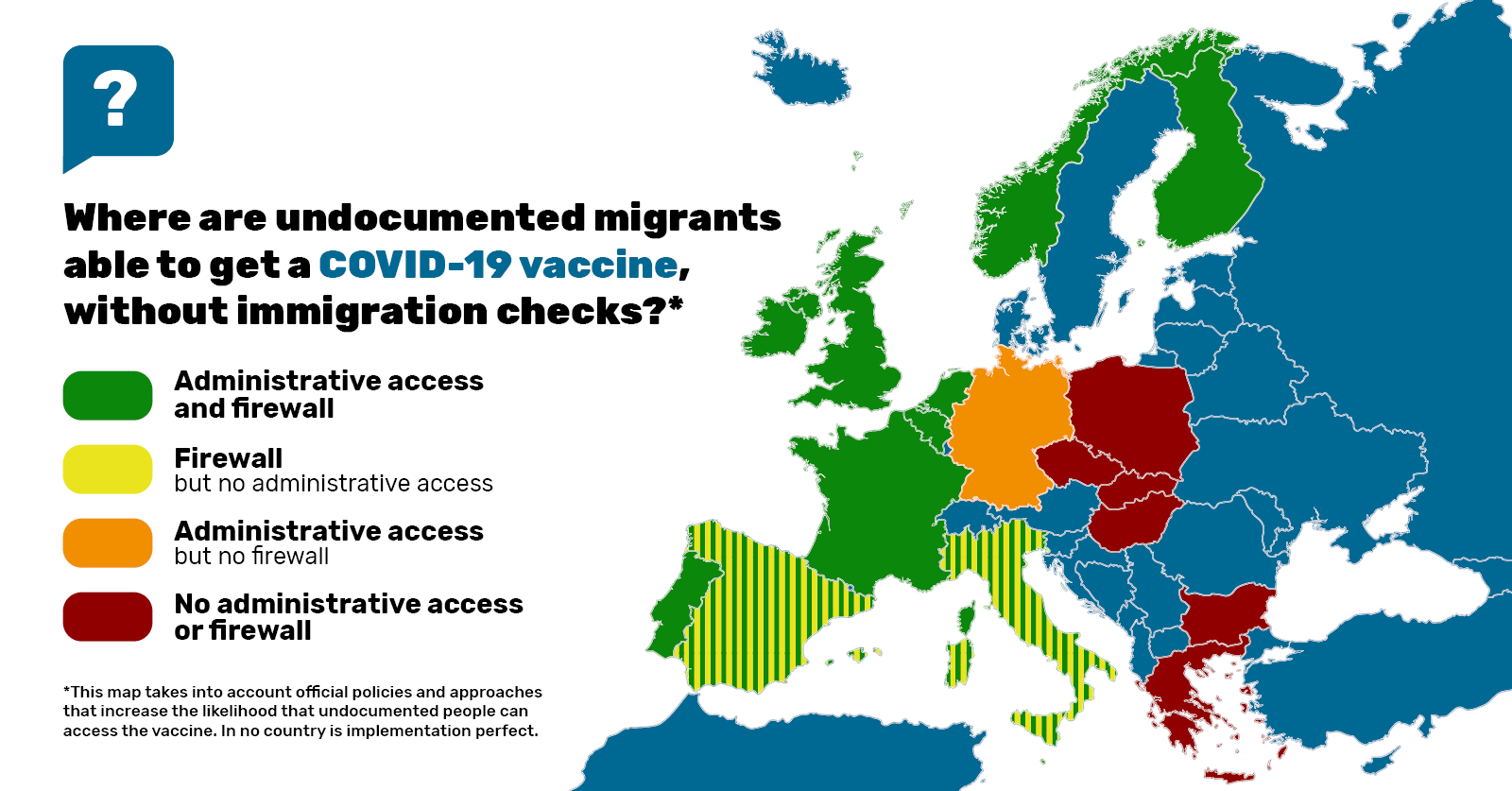 European map showing where undocumented migrants can access the covid-19 vaccine