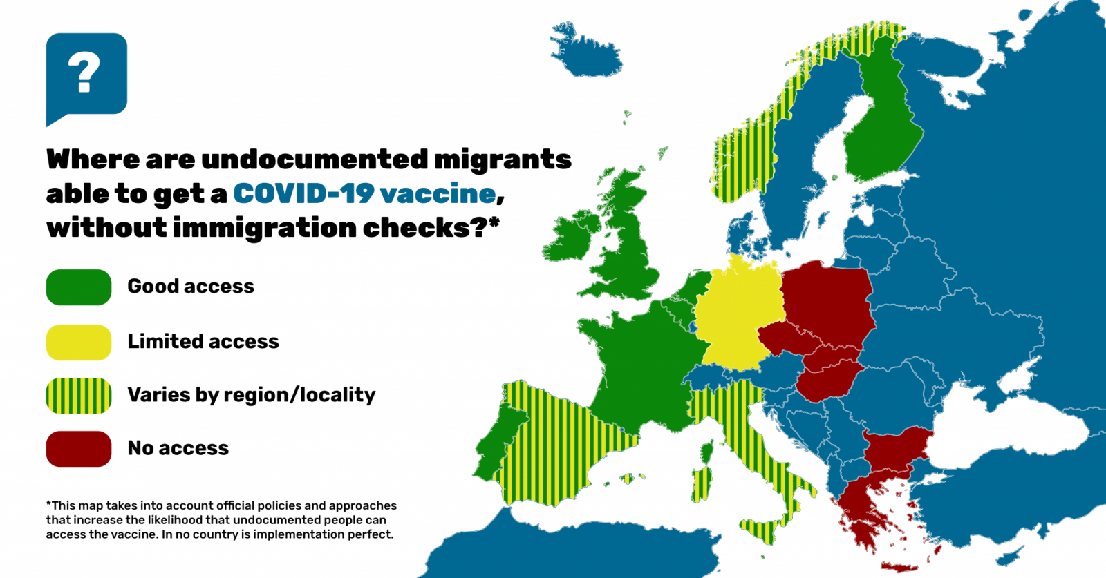Map of Europe showing where undocumented migrants are able to get a COVID-19 vaccine, without immigration checks