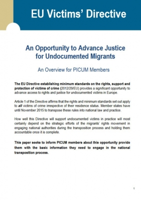 EU Victims' Directive: An Opportunity to Advance Justice for Undocumented Migrants (September 2014) – EN
