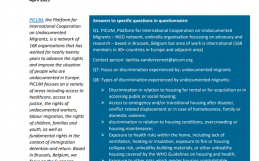 PICUM's contribution to the consultation of the UN Special Rapporteur on the right to adequate housing on housing discrimination and spatial segregation – April 2021