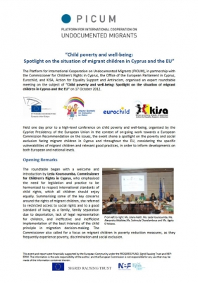 Child poverty and well-being: Spotlight on the situation of migrant children in Cyprus and the EU (June 2013)