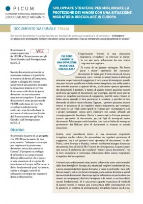 Sviluppare strategie per migliorare la protezione dei minori con una situazione migratoria irregolare in Europa – Documento nazionale Italia (Giugno 2012) – IT