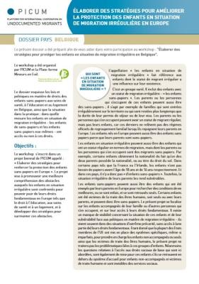Élaborer des stratégies pour améliorer la protection des enfants en situation de migration irrégulière en Europe – Dossier pays Belgique (Mars 2012) – FR