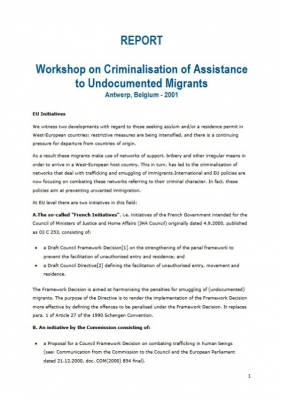 Workshop on Criminalisation of Assistance to Undocumented Migrants (January 2001)