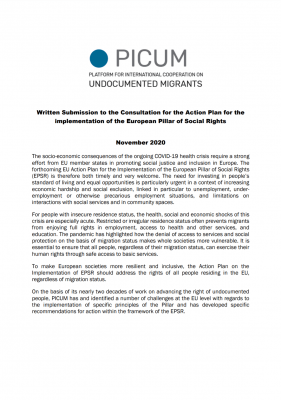 PICUM's contribution to the consultation on the European Pillar of Social Rights Action Plan – November 2020 – EN