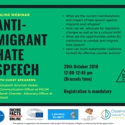 JOIN AND SHARE: WEBINAR TO DISCUSS ANTI-MIGRANT HATE SPEECH