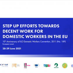 Step up efforts towards decent work for domestic workers in the EU – June 2021
