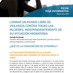 HOJA INFORMATIVA – CONVENCIÓN DE ESTAMBUL: LOGRAR UN MUNDO LIBRE DE VIOLENCIA CONTRA TODAS LAS MUJERES, INDEPENDIENTEMENTE DE SU SITUACIÓN MIGRATORIA – November 2020 -ES