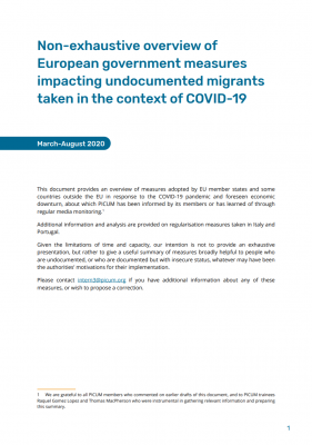 Non-exhaustive overview of European government measures impacting undocumented migrants taken in the context of COVID-19 – October 2020