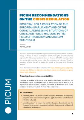 PICUM Recommendations on the Crisis Regulation – April 2021 – EN