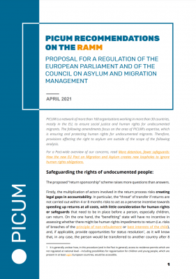 PICUM Recommendations on the RAMM – April 2021 – EN