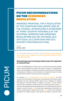 PICUM Recommendations on the Screening Regulation – April 2021 – EN