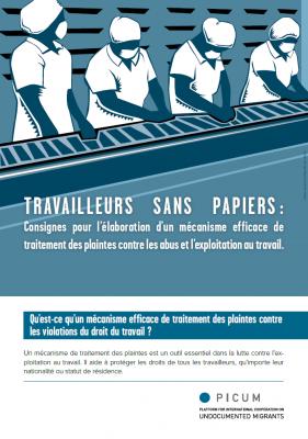 TRAVAILLEURS SANS PAPIERS : Consignes pour l'élaboration d'un mécanisme efficace de traitement des plaintes contre les abus et l'exploitation au travail – FR