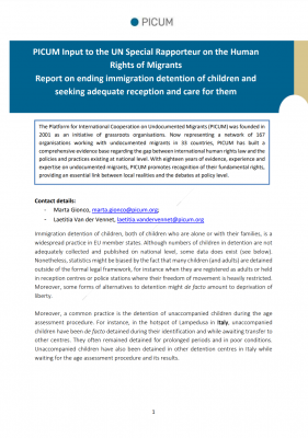 PICUM Submission on ending immigration detention of children – May 2020 – EN