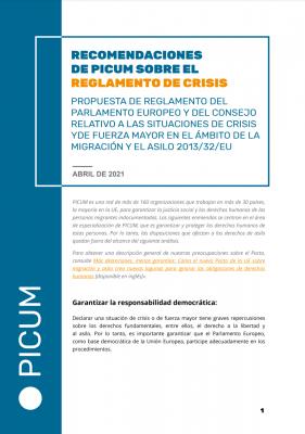 Recomendacones de PICUM sobre el Reglamento de crisis – April 2021 – ES