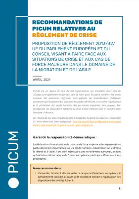 Recommandations de PICUM relatives au Règlement de Crise – April 2021 – FR