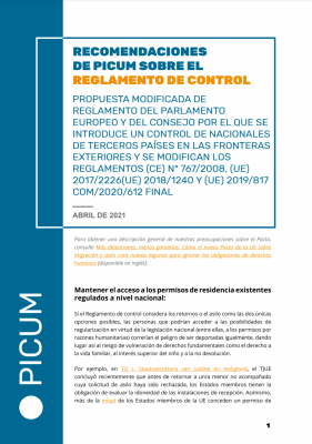 Recomendaciones de PICUM sobre el Reglamento de control – April 2021 – ES