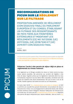 Recommandations de PICUM sur le Règlement sur le filtrage – April 2021 – FR