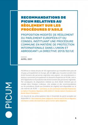Recommandations de PICUM relatives au Règlement sur les procédures d'asile – April 2021 – FR