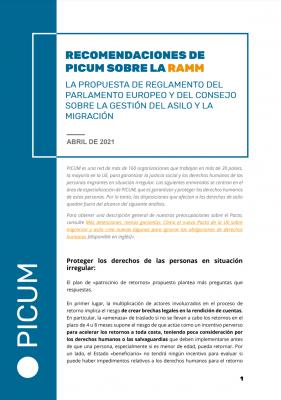 Recomendaciones de PICUM sobre la RAMM – April 2021 – ES
