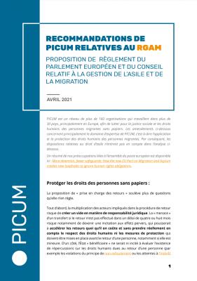 Recommendations de PICUM relatives au RGAM – April 2021 – FR