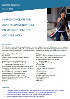 Shared Concerns and Joint Recommendations on Migrant Domestic and Care Work