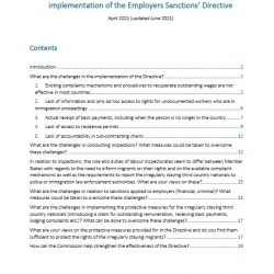 PICUM Inputs to DG Home consultation on implementation of the Employers Sanctions' Directive-June 2021